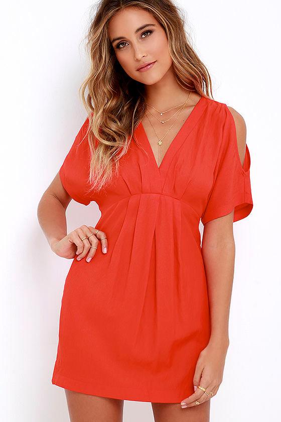 465a02f3759 Coral Red Dress - Sheath Dress - Short Sleeve Dress -  49.00