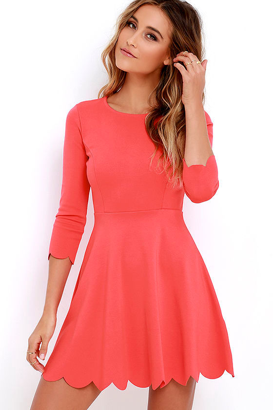 Skater Dress - Long Sleeve Dress - Fit-and-Flare Dress - $56.00