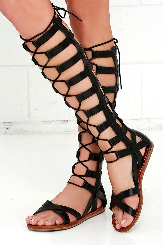 11562706414 Cute Black Sandals - Tall Gladiators - Gladiator Sandals -  71.00