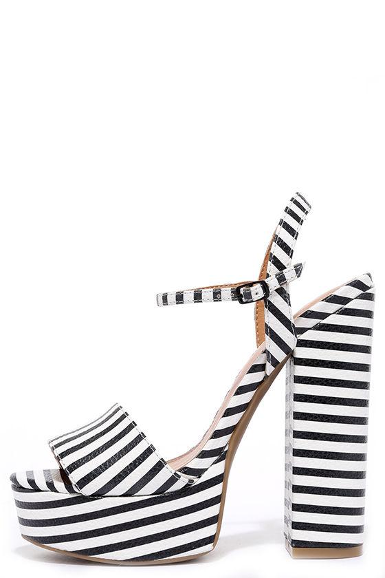 9d78d5baf127 Black and White Heels - Striped Heels - Platform Sandals -  69.00