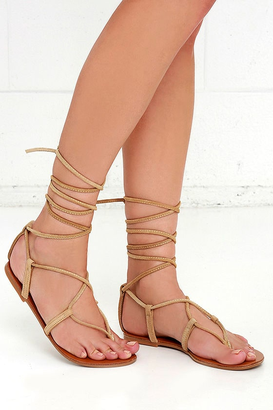 1342976c4f2 Steve Madden Werkit Tan Suede Leather Leg Wrap Sandals