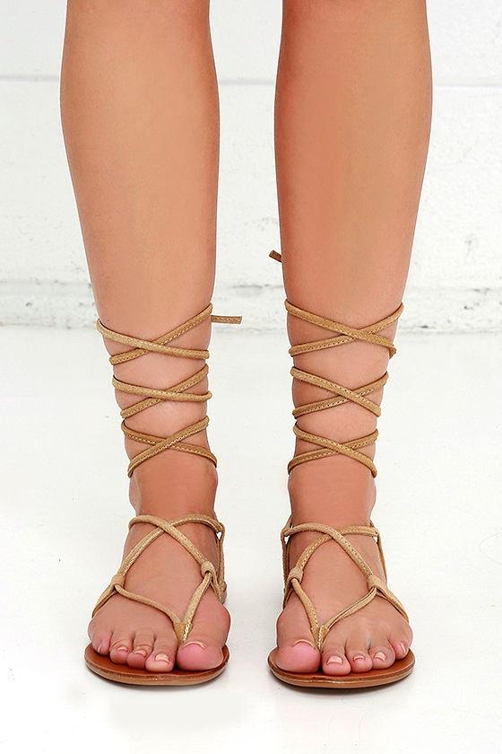 3ba98366c11 Steve Madden Werkit Tan Suede Leather Leg Wrap Sandals