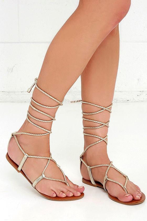 a9d19626b0a Steve Madden Werkit - Gold Suede Sandals - Leg Wrap Sandals -  59.00