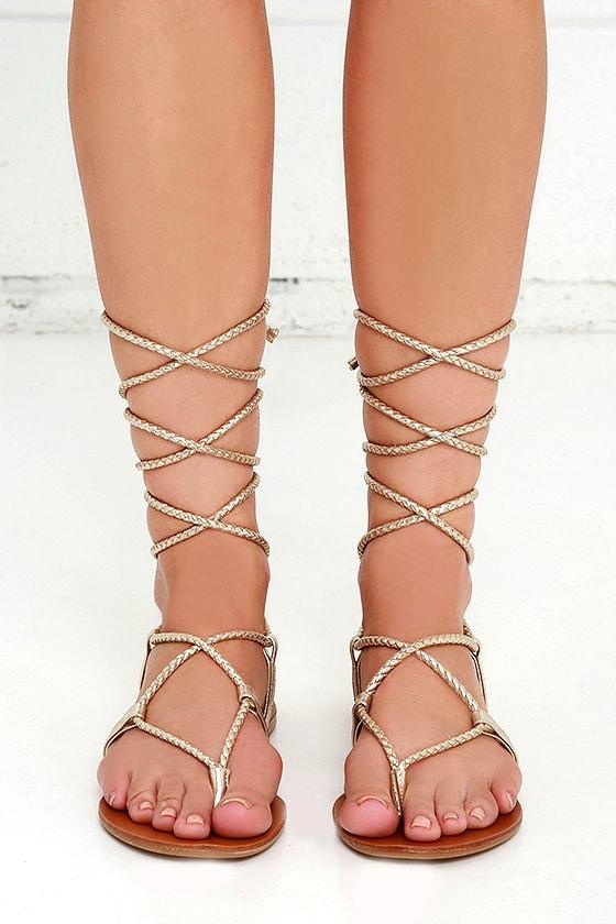 7932cc1441c6 Steve Madden Werkit - Gold Suede Sandals - Leg Wrap Sandals -  59.00
