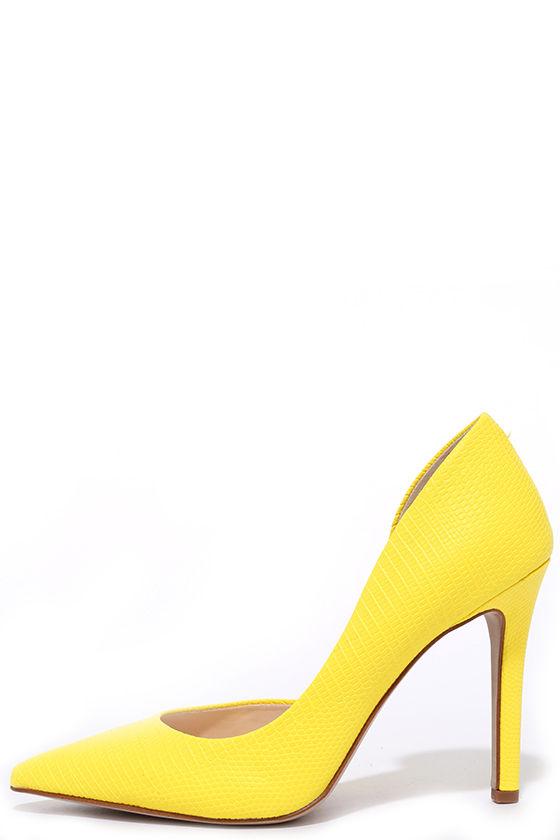52119731138 Jessica Simpson Claudette Lemon Yellow Snakeskin D'Orsay Pumps