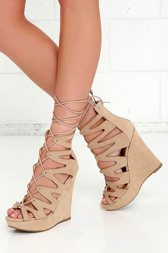 da3ac95bc361 Sexy Suede Wedges - Beige Wedges - Lace-Up Heels -  38.00