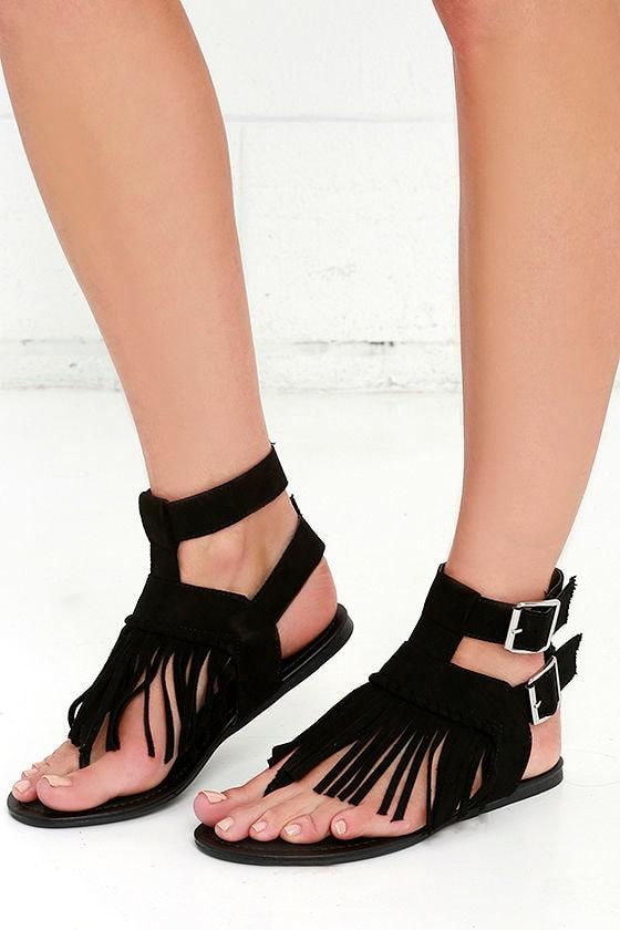 Fringe Sandals - Flat Sandals - Black