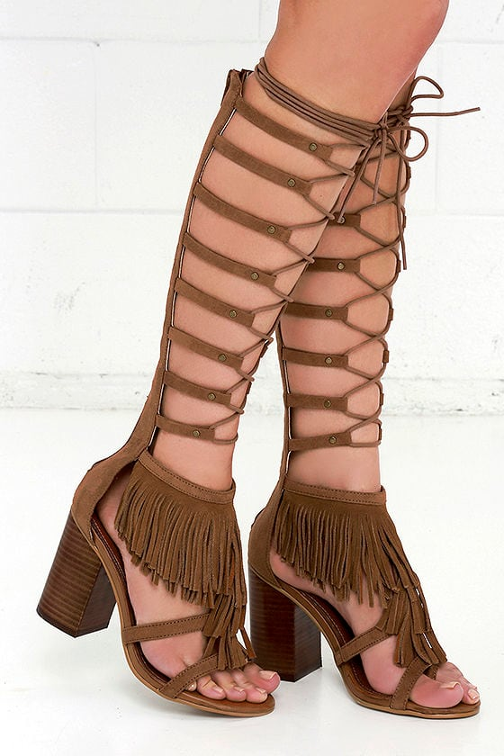 fe8ab1a1b3a0 Stylish Tan Heels - Lace-Up Heels - Fringe Heels -  99.00