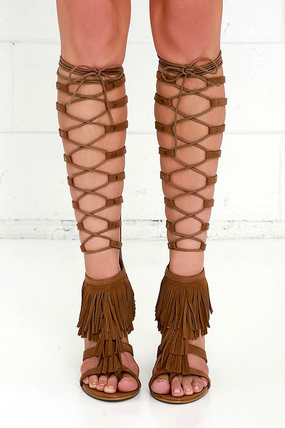 924424b1e3a8 Mia Ricarda Cinnamon Brown Suede Leather Tall Lace-Up Heels