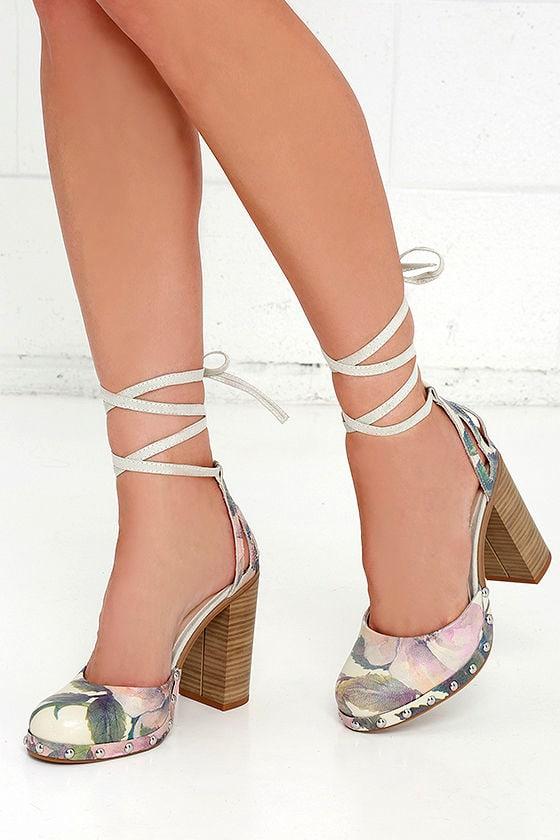 Cute Floral Heels - Lace-up Heels