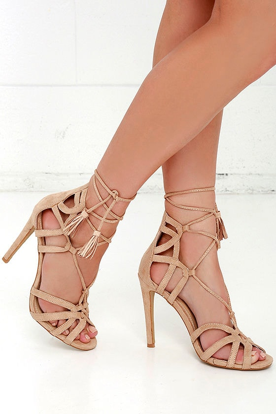 bb790f274bc Cute Nude Heels - Vegan Suede Heels - Lace-Up Heels -  37.00