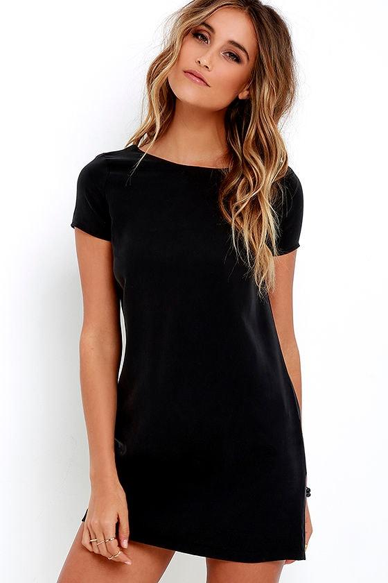 Chic Washed Black Dress - Shift Dress - Short Sleeve Dress - $49.00
