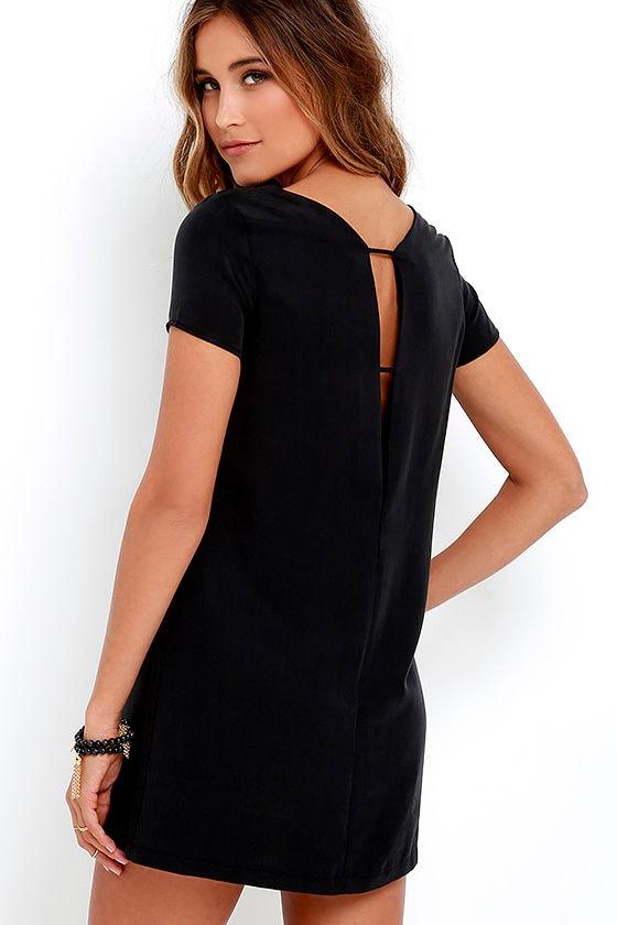 c3ca7ca95a7d Chic Washed Black Dress - Shift Dress - Short Sleeve Dress - $49.00