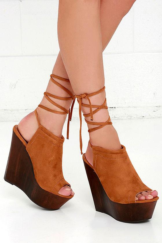 Suede Heels - Wedge Heels - Platform Heels - Lace-Up Heels - $31.00