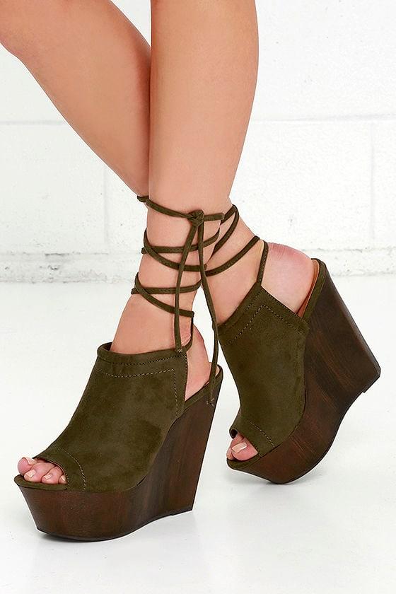 7d4e294086 Olive Green Suede Heels - Wedge Heels - Platform Heels