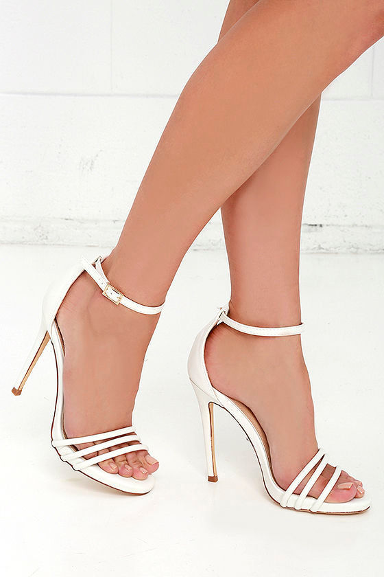 White Single Sole Heels - Ankle Strap Heels - High Heel Sandals ...