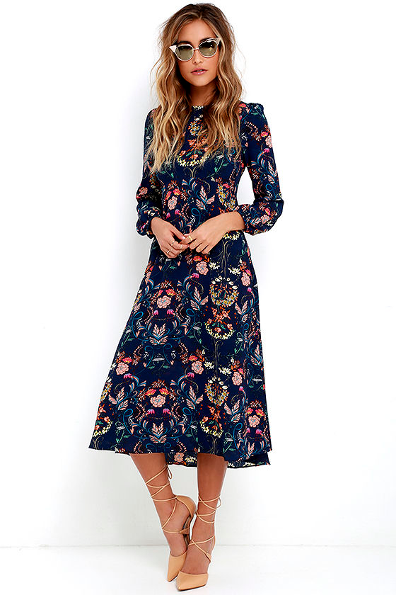 Boho Midi Dress - Navy Blue Dress - Floral Print Dress