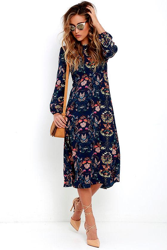 Boho Midi Dress - Navy Blue Dress - Floral Print Dress - Long ...