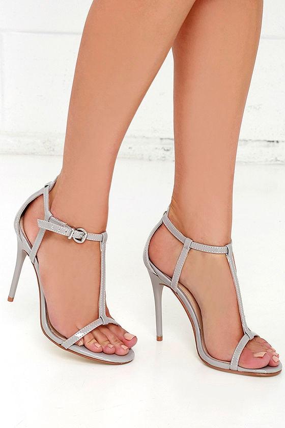 de001ec1cb6a8 Pretty Grey Heels - T Strap Heels - Dress Sandals -  69.00