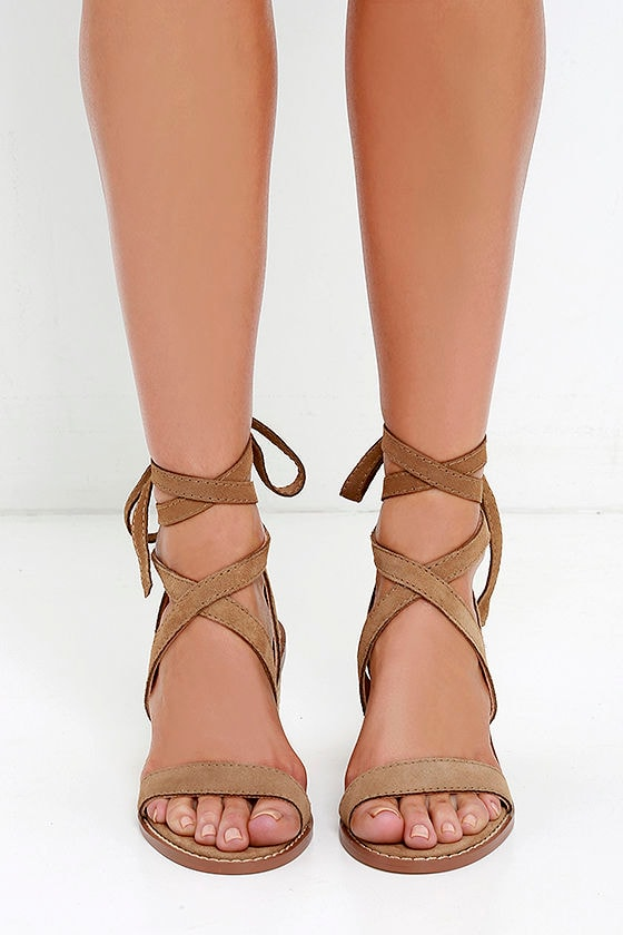 2435ff770fc Chinese Laundry Calvary - Beige Suede Sandals - Lace-Up Sandals ...