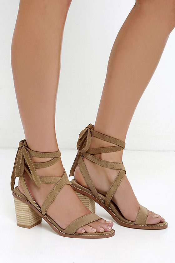 Chinese Laundry Calvary Beige Suede Sandals Lace Up