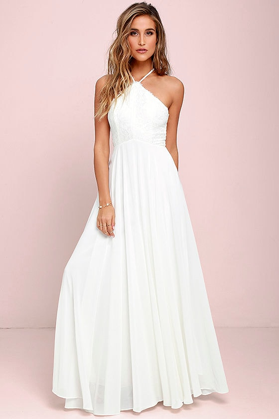 Stunning Ivory Dress Maxi Dress Halter Dress Lace