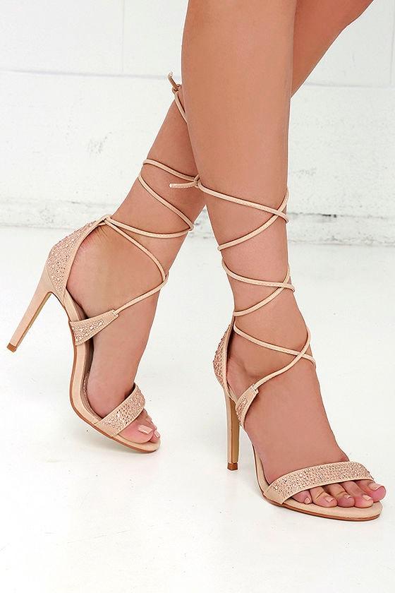 nude heels   rhinestone heels   lace up heels   32 00