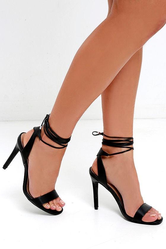 Sexy Black Heels Leg Wrap Heels Single Sole Heels 25 00