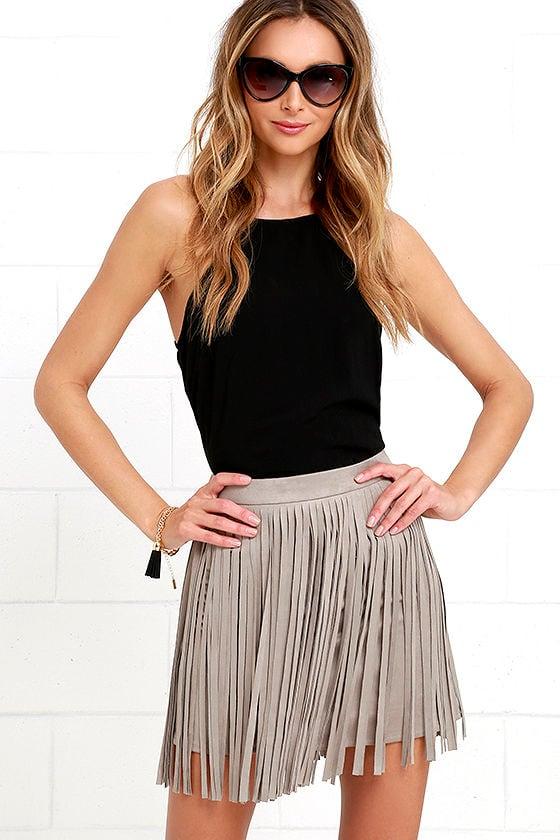 Bb Dakota Pearl Fringe Skirt Taupe Skirt Mini Skirt