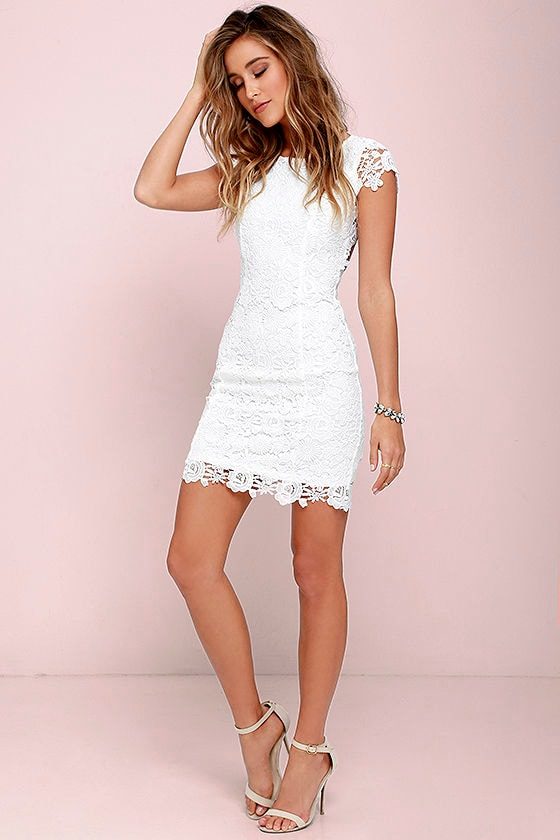 Hidden Talent Backless Ivory Lace Dress 2