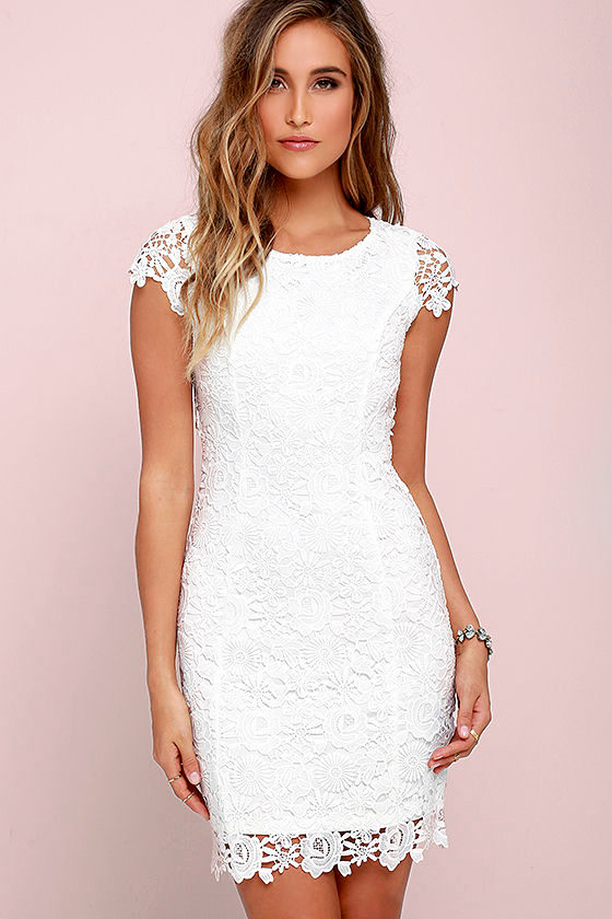 Hidden Talent Backless Ivory Lace Dress 3