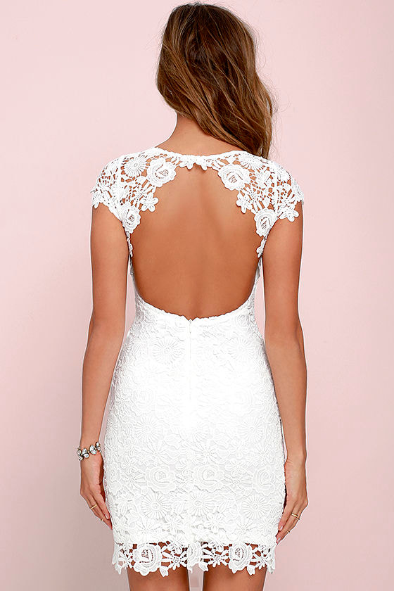 Hidden Talent Backless Ivory Lace Dress 4