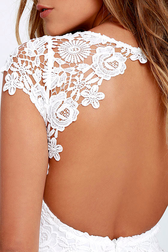 Hidden Talent Backless Ivory Lace Dress 5