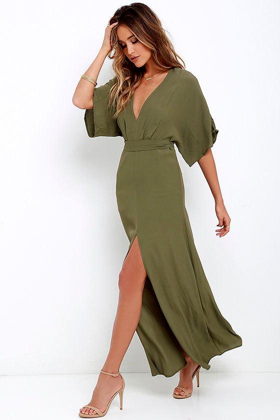 ff4198283617 Olive Green Maxi Dress - Short Sleeve Maxi Dress - Casual Maxi Dress ...