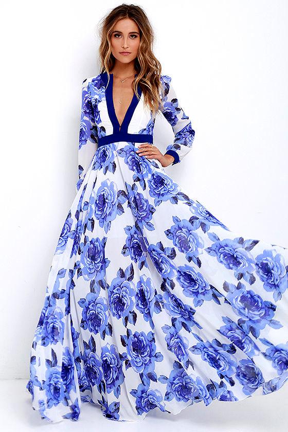 Stunning Floral Print Dress - Blue Maxi Dress - Long Sleeve Maxi ...