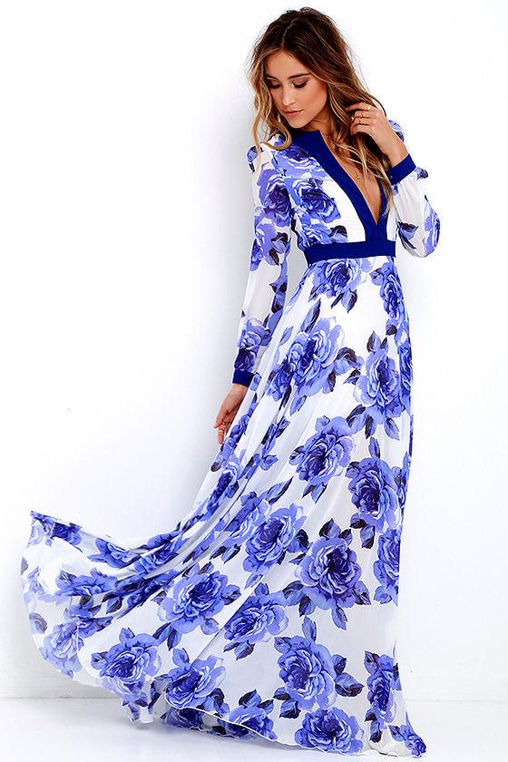 a73b5da7a415 Stunning Floral Print Dress - Blue Maxi Dress - Long Sleeve Maxi ...