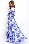 Stunning Floral Print Dress Blue Maxi Dress Long Sleeve Maxi