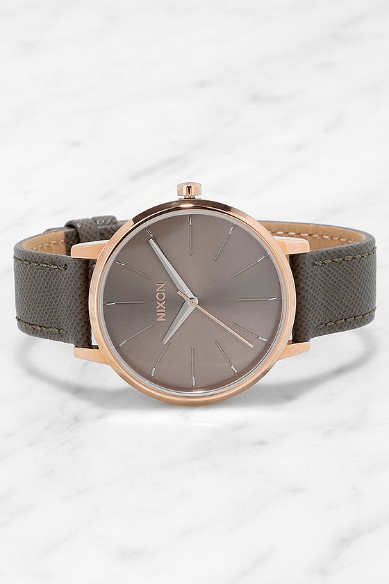 Nixon Kensington Leather Rose Gold and Taupe Watch 3