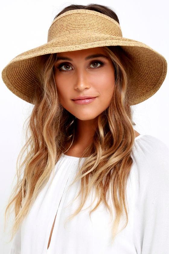 San Diego Hat Co. Shade Stunner Beige Straw Visor 1