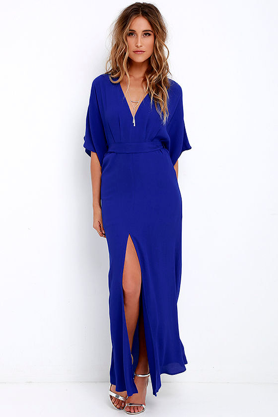 Royal Blue Maxi Dress Short Sleeve Maxi Dress Casual