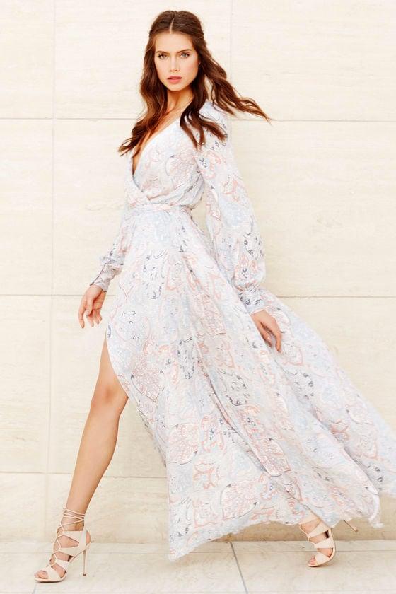 340ba10657 Boho Floral Print Dress - Maxi Dress - Long Sleeve Dress -  132.00