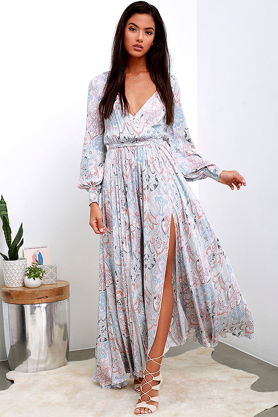 Boho Floral Print Dress - Maxi Dress - Long Sleeve Dress - $132.00