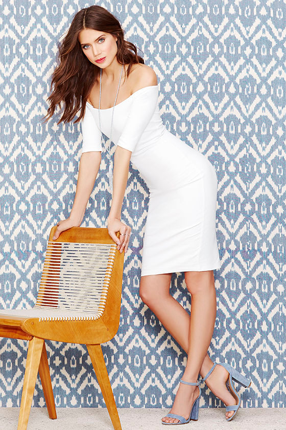 Girl Can't Help It Ivory Off-the-Shoulder Midi Dress 2