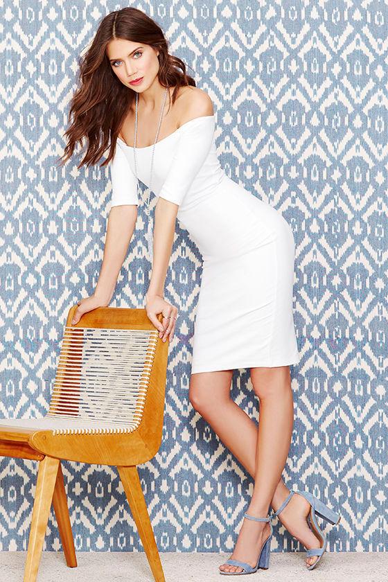 081708ffb Chic Ivory Dress - Off-the-Shoulder Dress - Midi Dress