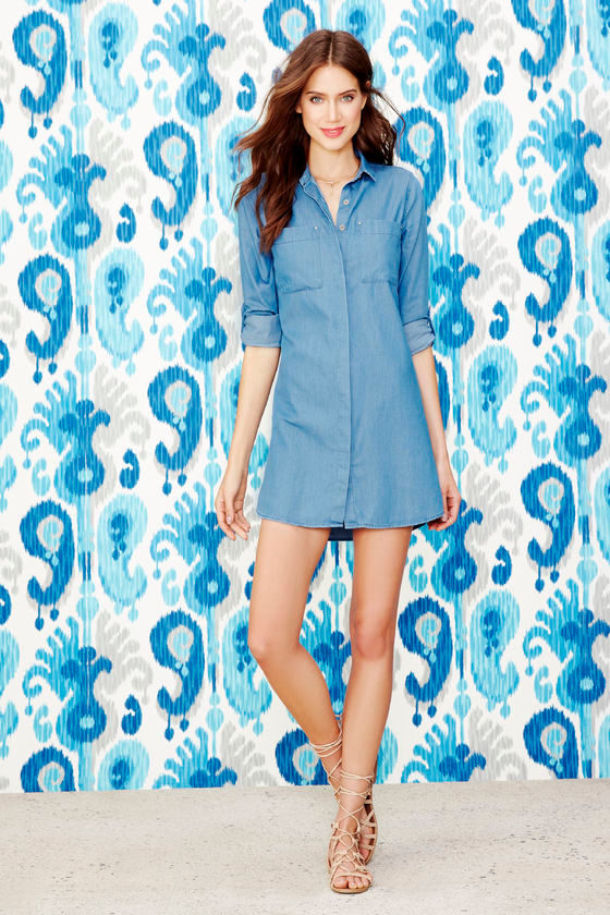ffb98778f9d Cute Chambray Shift Dress - Denim Dress - Long Sleeve Dress