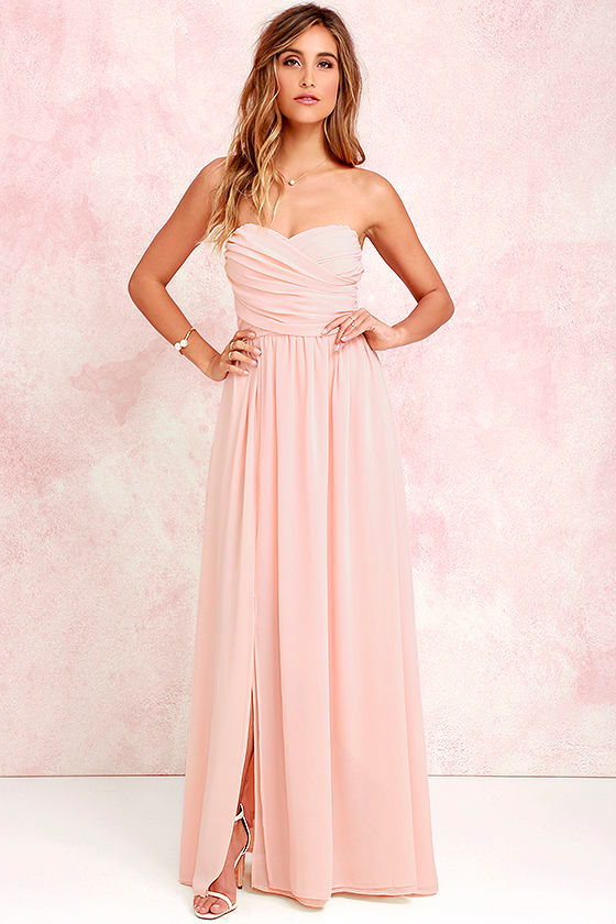 lovely peach gown strapless dress maxi dress 8200