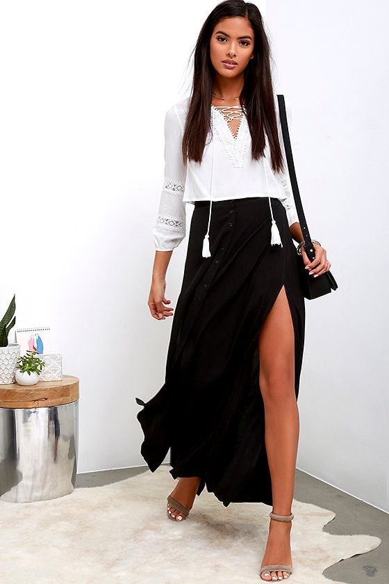 Chic Black Skirt - Maxi Skirt - Button-Front Skirt - $39.00