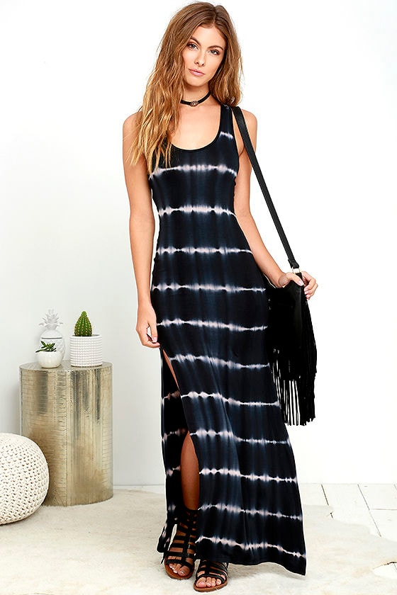 Cool Black Tie Dye Dress Maxi Dress Slit Maxi Dress 44 00