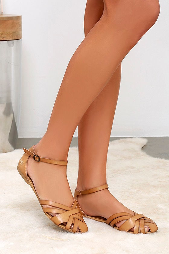 fe658758f62 Cute Tan Sandals - Flat Ankle Strap Sandals - Strappy Sandals -  46.00