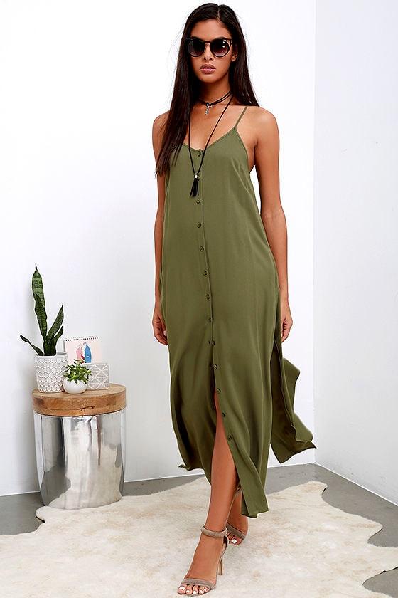 Chic Olive Green Dress - Maxi Dress - Button-Up Maxi - $54.00